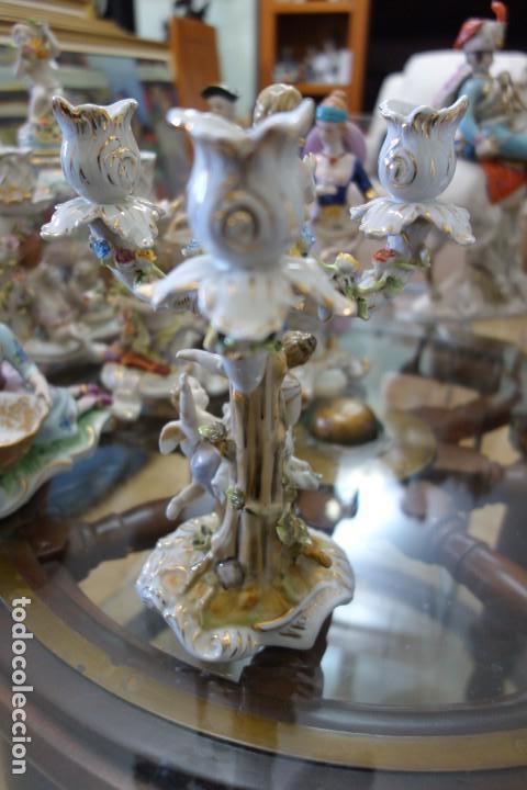 Antigüedades: CANDELABRO DE PORCELANA ALEMANA DE MEISSEN DEL SIGLO XIX - Foto 3 - 168677928