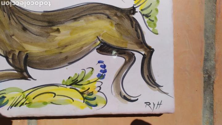 Antigüedades: Azulejo ciervo 20 x 29 cm. - Foto 3 - 168678422