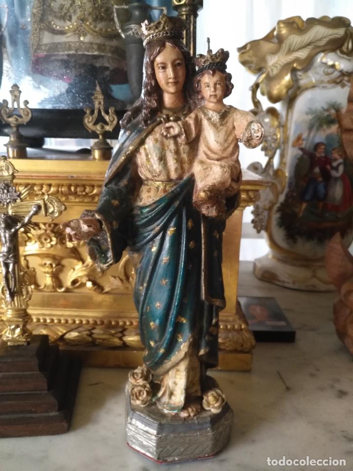 Antigüedades: imagen de la virgen INMACULADA con niño jesus OJOS DE CRISTAL - 34,2 CM ALTURA - POLICROMADA OLOT - Foto 2 - 168703892