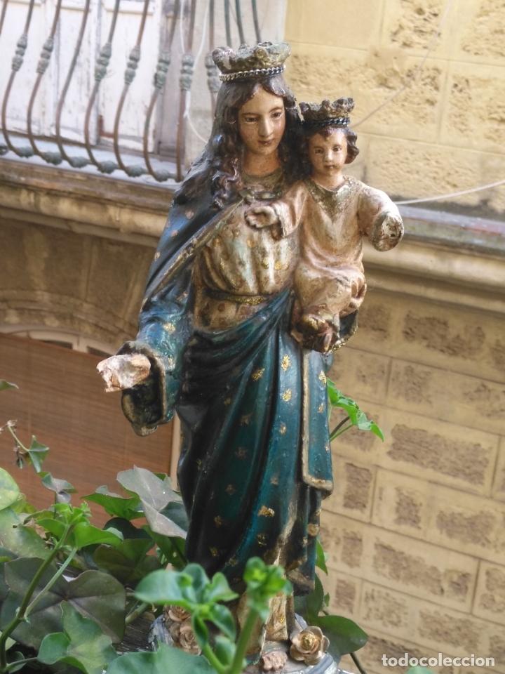 Antigüedades: imagen de la virgen INMACULADA con niño jesus OJOS DE CRISTAL - 34,2 CM ALTURA - POLICROMADA OLOT - Foto 4 - 168703892