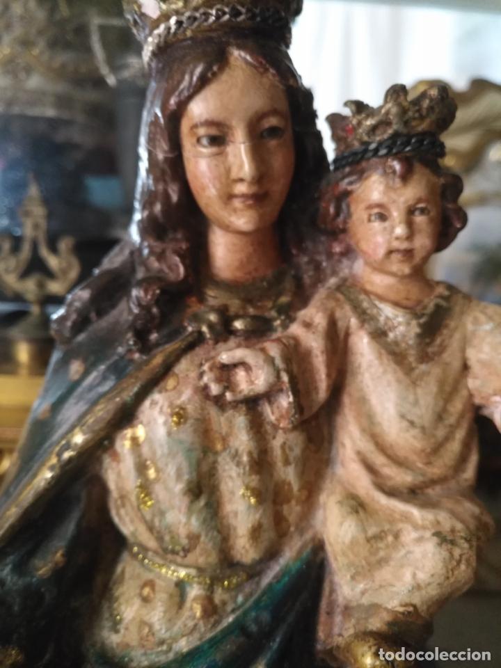 Antigüedades: imagen de la virgen INMACULADA con niño jesus OJOS DE CRISTAL - 34,2 CM ALTURA - POLICROMADA OLOT - Foto 5 - 168703892