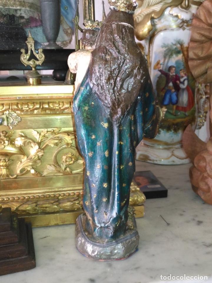 Antigüedades: imagen de la virgen INMACULADA con niño jesus OJOS DE CRISTAL - 34,2 CM ALTURA - POLICROMADA OLOT - Foto 10 - 168703892
