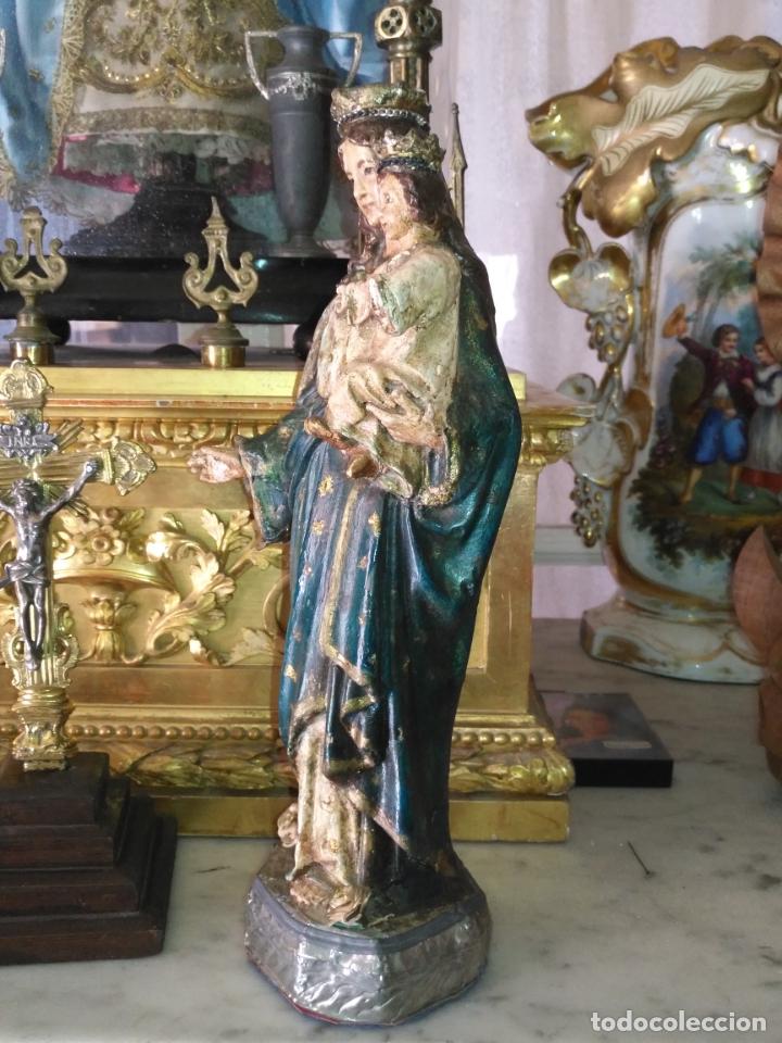 Antigüedades: imagen de la virgen INMACULADA con niño jesus OJOS DE CRISTAL - 34,2 CM ALTURA - POLICROMADA OLOT - Foto 11 - 168703892