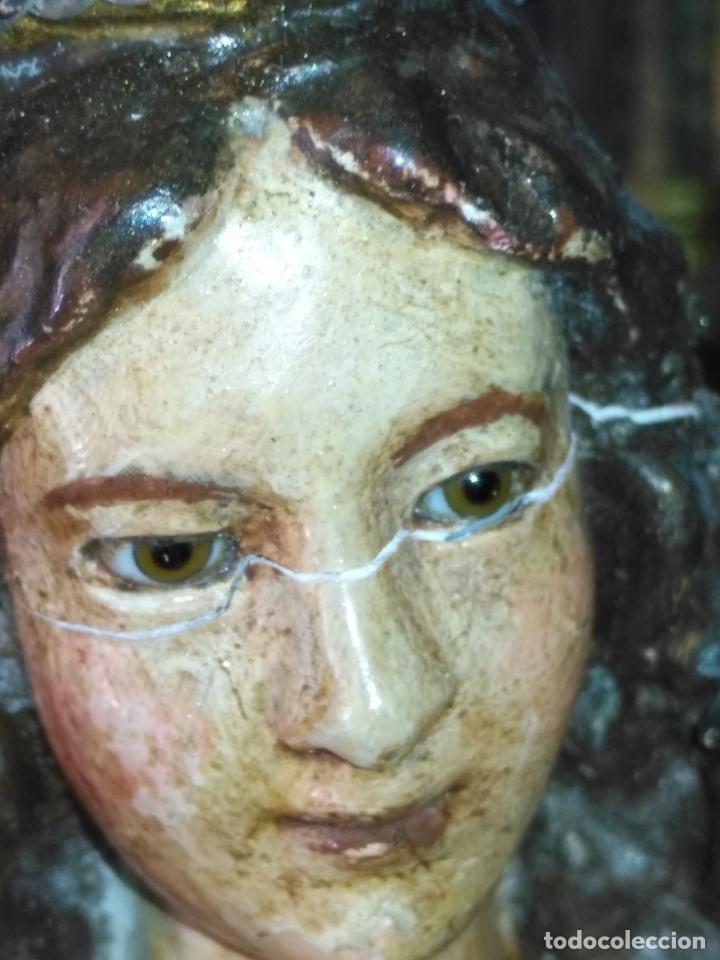 Antigüedades: imagen de la virgen INMACULADA con niño jesus OJOS DE CRISTAL - 34,2 CM ALTURA - POLICROMADA OLOT - Foto 13 - 168703892