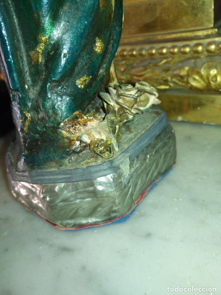 Antigüedades: imagen de la virgen INMACULADA con niño jesus OJOS DE CRISTAL - 34,2 CM ALTURA - POLICROMADA OLOT - Foto 17 - 168703892
