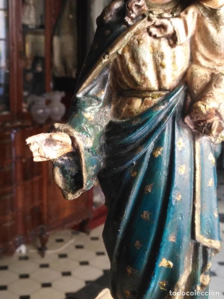 Antigüedades: imagen de la virgen INMACULADA con niño jesus OJOS DE CRISTAL - 34,2 CM ALTURA - POLICROMADA OLOT - Foto 18 - 168703892