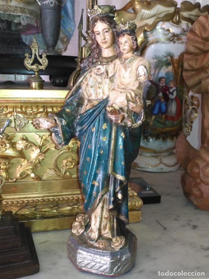 Antigüedades: imagen de la virgen INMACULADA con niño jesus OJOS DE CRISTAL - 34,2 CM ALTURA - POLICROMADA OLOT - Foto 23 - 168703892