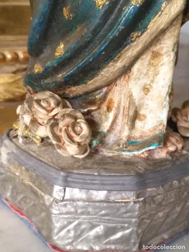 Antigüedades: imagen de la virgen INMACULADA con niño jesus OJOS DE CRISTAL - 34,2 CM ALTURA - POLICROMADA OLOT - Foto 24 - 168703892