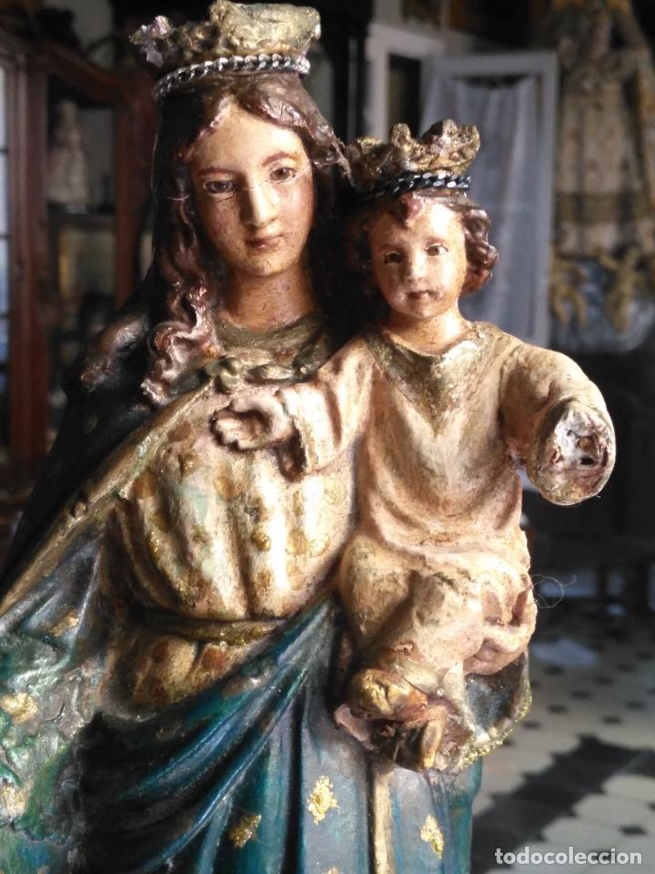 Antigüedades: imagen de la virgen INMACULADA con niño jesus OJOS DE CRISTAL - 34,2 CM ALTURA - POLICROMADA OLOT - Foto 25 - 168703892
