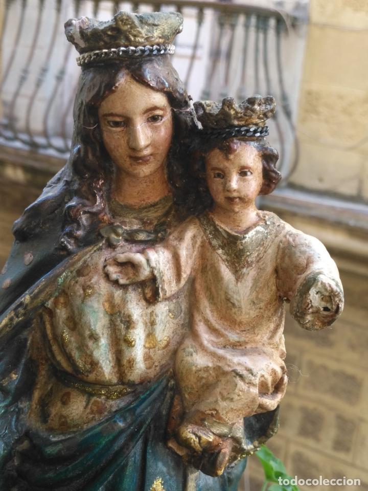 IMAGEN DE LA VIRGEN INMACULADA CON NIÑO JESUS OJOS DE CRISTAL - 34,2 CM ALTURA - POLICROMADA OLOT (Antigüedades - Religiosas - Varios)