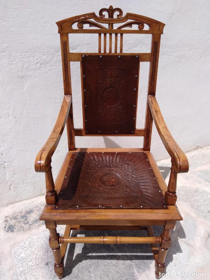 Antigüedades: Antigüo sillón trono - Foto 2 - 168712948