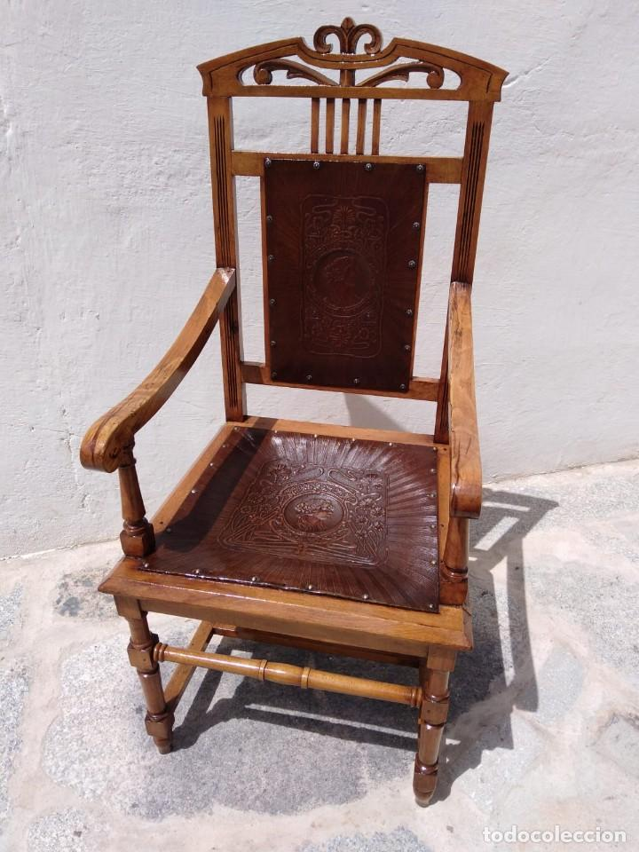 Antigüedades: Antigüo sillón trono - Foto 3 - 168712948