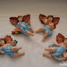 Antigüedades: LOTE DE 4 ANGELITOS EN ESCAYOLA #48#. Lote 79177689