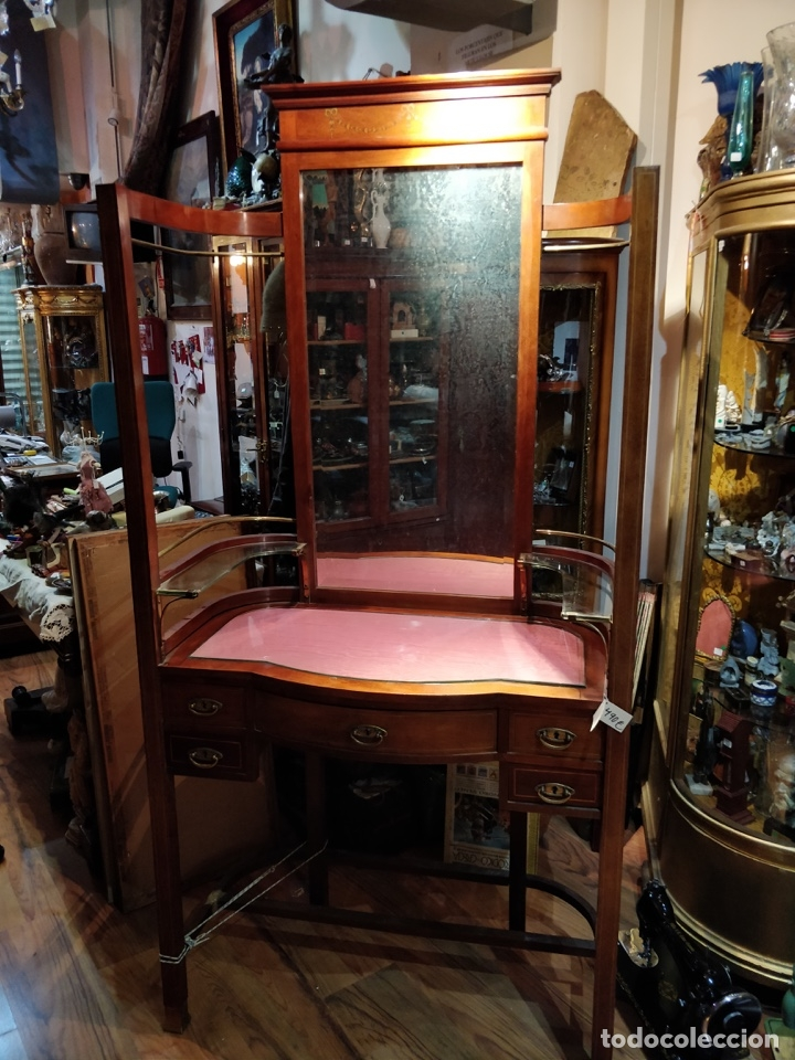 Antigüedades: Antigua coqueta tocador estilo art deco, con espejo y cuatro cajones-Alto 195 ancho 95 fondo 50cm - Foto 2 - 133246358