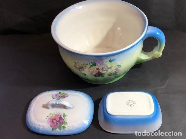 Antigüedades: Urinal y Jabonera de cerámica (porcelana) antiguos policromados - Foto 2 - 168800036