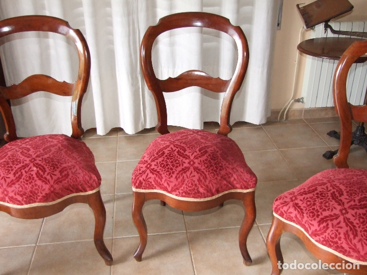 Antigüedades: 4 SILLAS ISABELINAS DE CAOBA - Foto 4 - 168800660