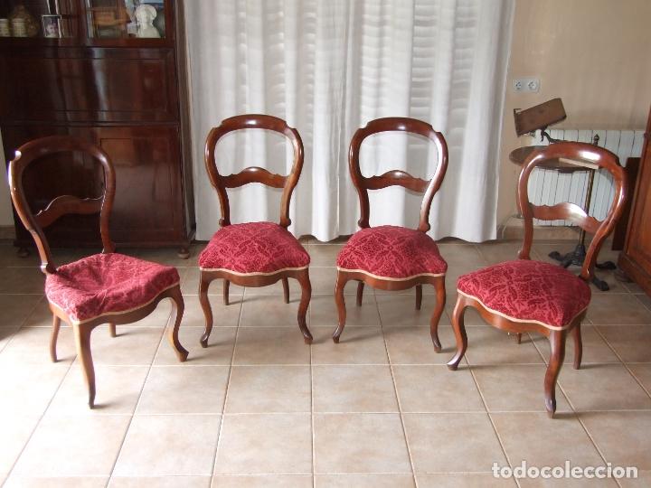 4 SILLAS ISABELINAS DE CAOBA (Antigüedades - Muebles Antiguos - Sillas Antiguas)