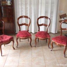 Antigüedades: 4 SILLAS ISABELINAS DE CAOBA. Lote 168800660