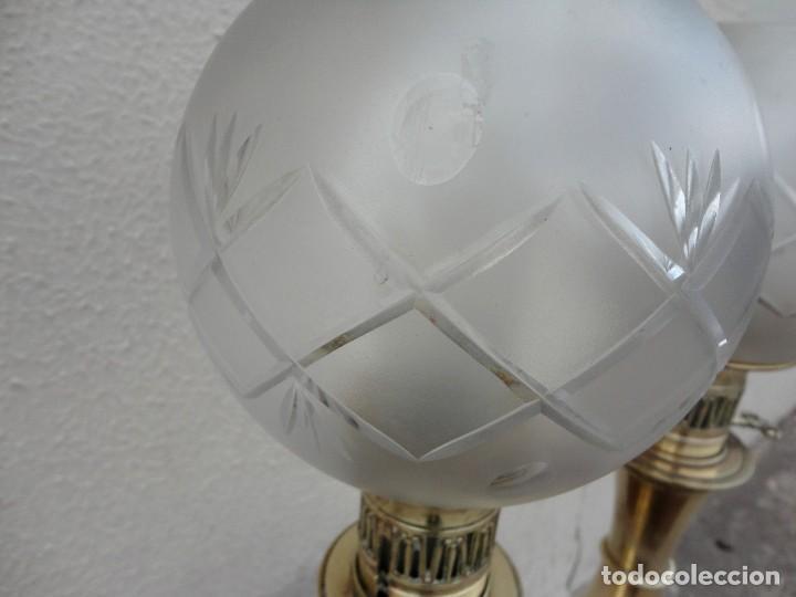 Antigüedades: Pareja de lamparas quinque antiguas de gas realizadas en bronce SXIX - Foto 3 - 168814280