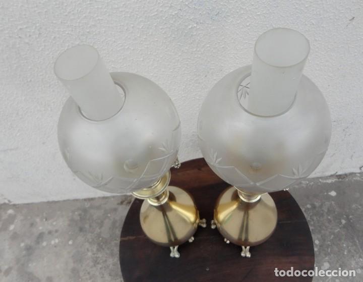Antigüedades: Pareja de lamparas quinque antiguas de gas realizadas en bronce SXIX - Foto 5 - 168814280