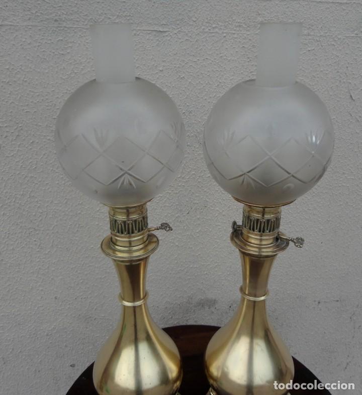 Antigüedades: Pareja de lamparas quinque antiguas de gas realizadas en bronce SXIX - Foto 6 - 168814280