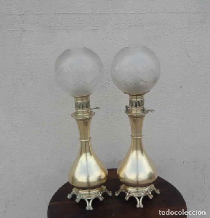 Antigüedades: Pareja de lamparas quinque antiguas de gas realizadas en bronce SXIX - Foto 7 - 168814280