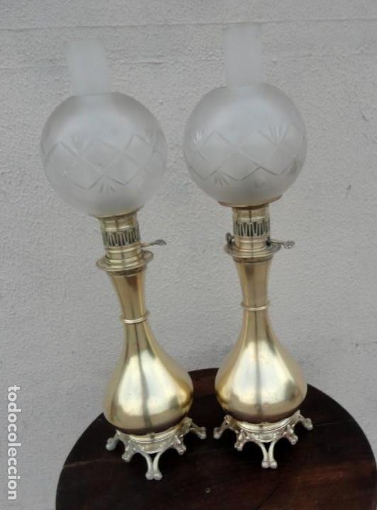 Antigüedades: Pareja de lamparas quinque antiguas de gas realizadas en bronce SXIX - Foto 8 - 168814280