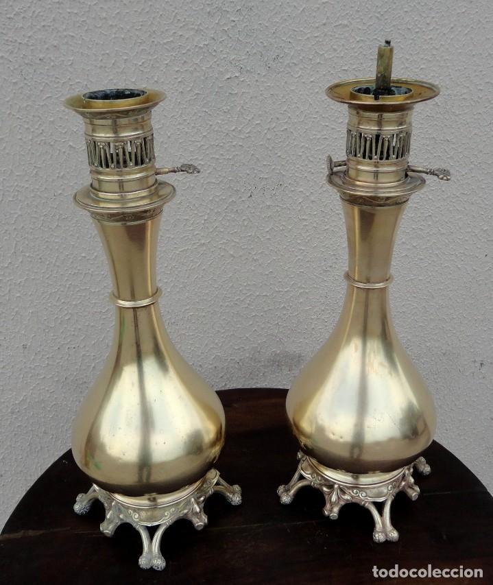 Antigüedades: Pareja de lamparas quinque antiguas de gas realizadas en bronce SXIX - Foto 9 - 168814280