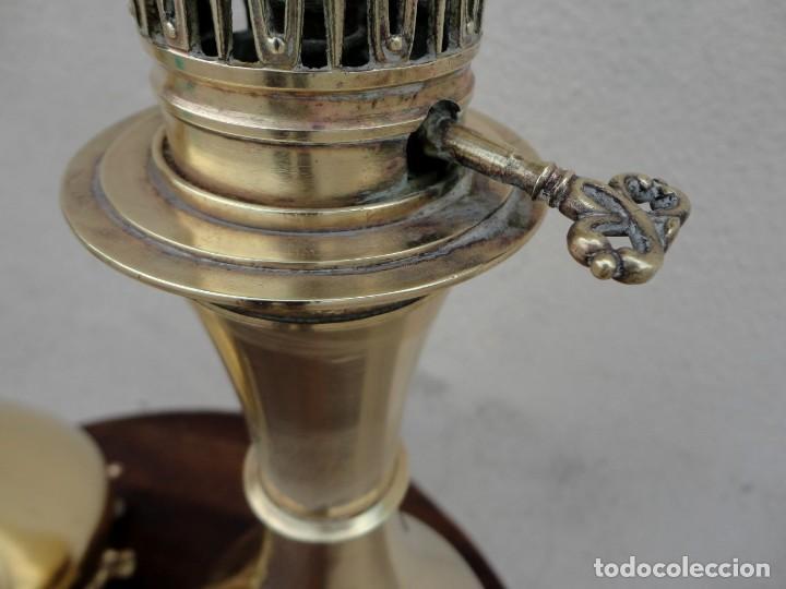 Antigüedades: Pareja de lamparas quinque antiguas de gas realizadas en bronce SXIX - Foto 12 - 168814280