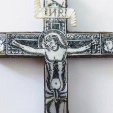 Antigüedades: MAGNÍFICA CRUZ FRANCISCANA DE JERUSALEN. SIGLO XVIII. MADERA NOBLE, NÁCAR Y PLATA. Lote 168830844