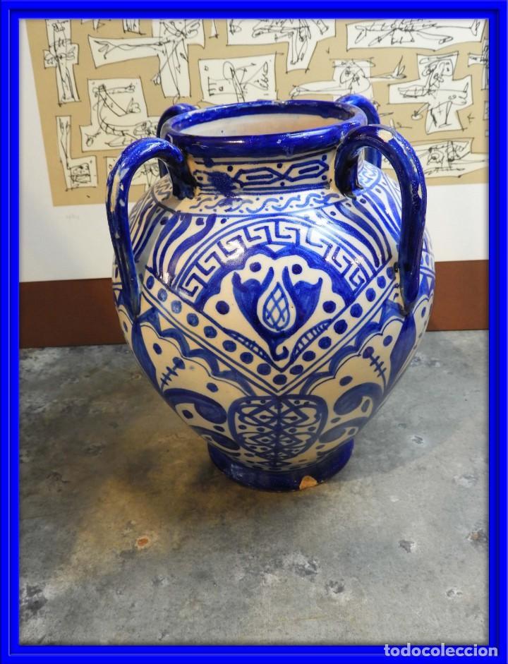 VASIJA ORZA JARRON DE CERAMICA DE TALAVERA FIRMADA ESPA (Antigüedades - Porcelanas y Cerámicas - Talavera)