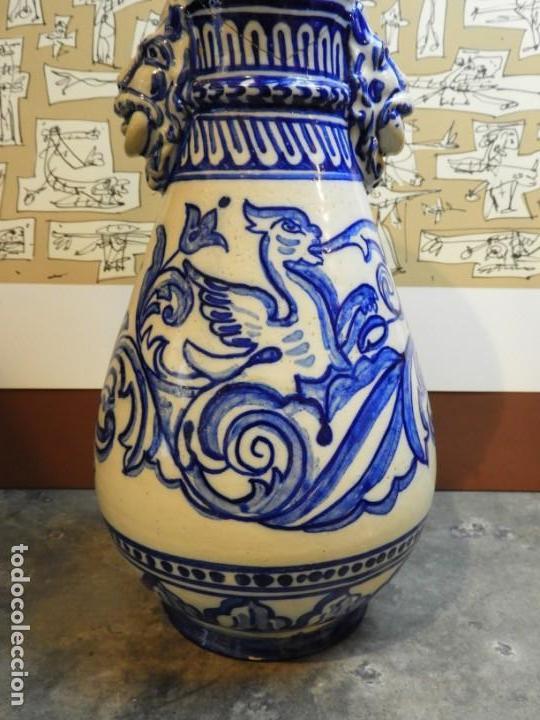 Antigüedades: JARRON DE CERAMICA DE TALAVERA TONOS AZULES CON DRAGON - Foto 2 - 168858124