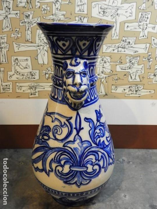 Antigüedades: JARRON DE CERAMICA DE TALAVERA TONOS AZULES CON DRAGON - Foto 3 - 168858124