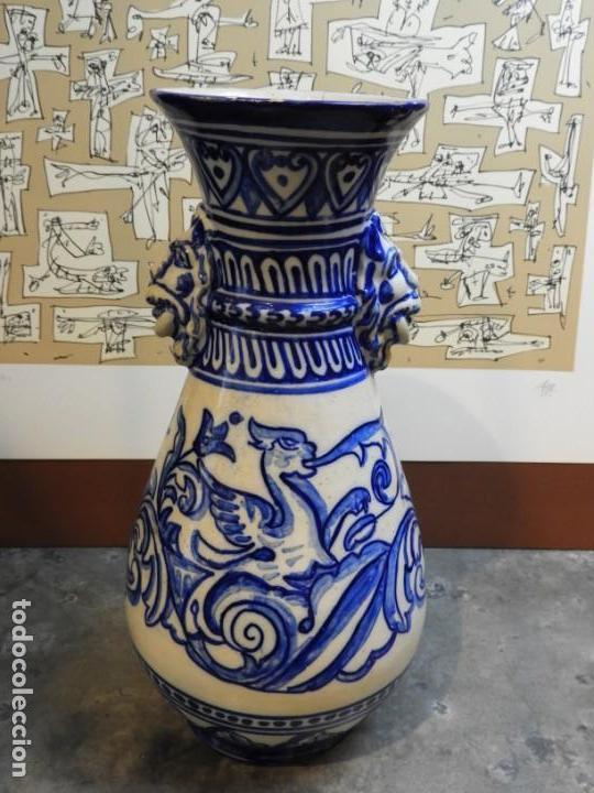 Antigüedades: JARRON DE CERAMICA DE TALAVERA TONOS AZULES CON DRAGON - Foto 4 - 168858124