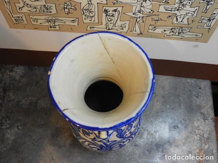 Antigüedades: JARRON DE CERAMICA DE TALAVERA TONOS AZULES CON DRAGON - Foto 6 - 168858124