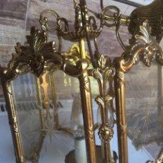 Antigüedades: LAMPARA DE METAL Y CRISTAL DE 30 CTM DE DIAMETRO POR 60 DE ALTO,AÑOS 50. Lote 168869740