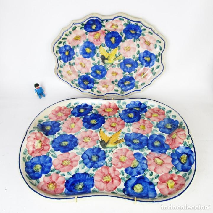 MUY ANTIGUAS BANDEJAS CERAMICA MANISES FAITANAR SXIX (Antigüedades - Porcelanas y Cerámicas - Manises)