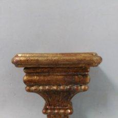 Antigüedades: PEANA DORADA CON PAN DE ORO, BASE CUADRADA. Lote 168920924