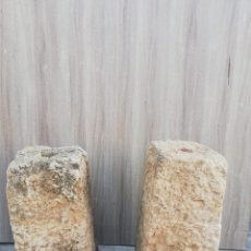 Antigüedades: PIEDRAS DE SOPORTE DE COLUMNA 2 UDS. 68 Y 65 CMS. DE ALTO DIAMETRO AGUJERO 7 CMS.. Lote 168924328
