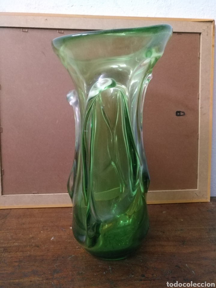 Antigüedades: Jarron grande cristal murano color verde dos tonos - Foto 2 - 168929166