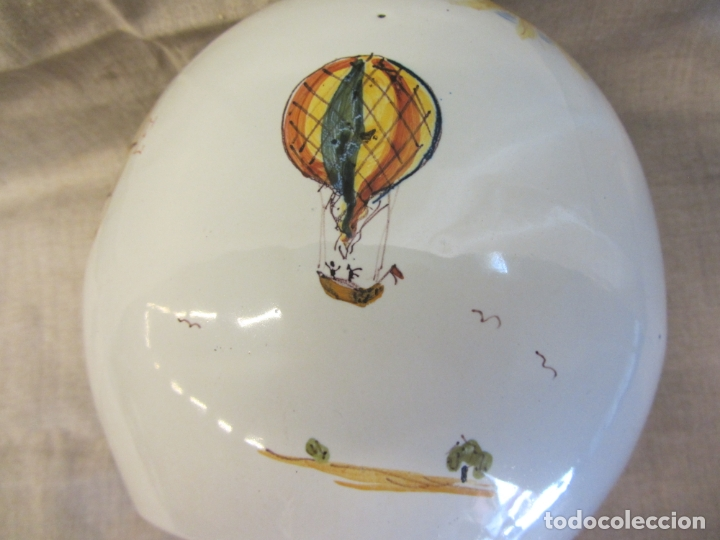 Antigüedades: Jarro florero de cerámica oval ppo. s.XX Faitanar - Foto 2 - 168945416
