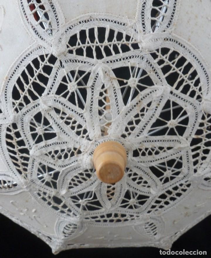 Antigüedades: SOMBRILLA DE ENCAJE PARA MUÑECA - Foto 8 - 168950008