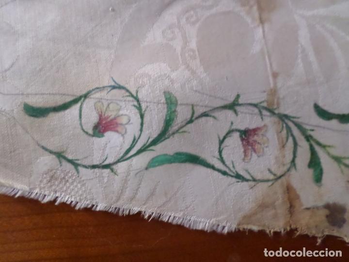 Antigüedades: TELA DE DAMASCO PINTADA MOTIVO RELIGIOSO - Foto 2 - 168950656