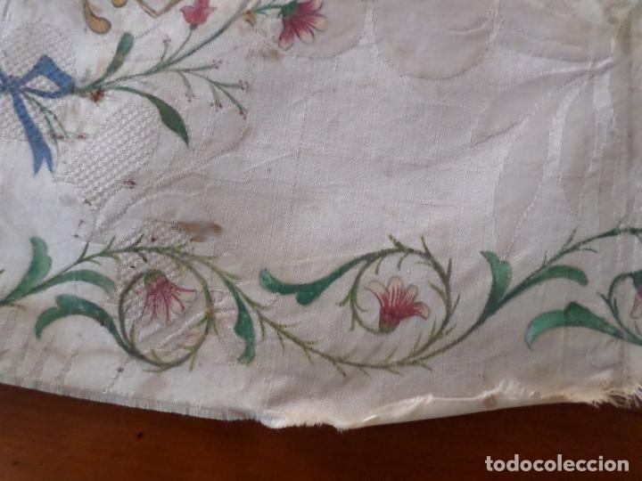 Antigüedades: TELA DE DAMASCO PINTADA MOTIVO RELIGIOSO - Foto 4 - 168950656