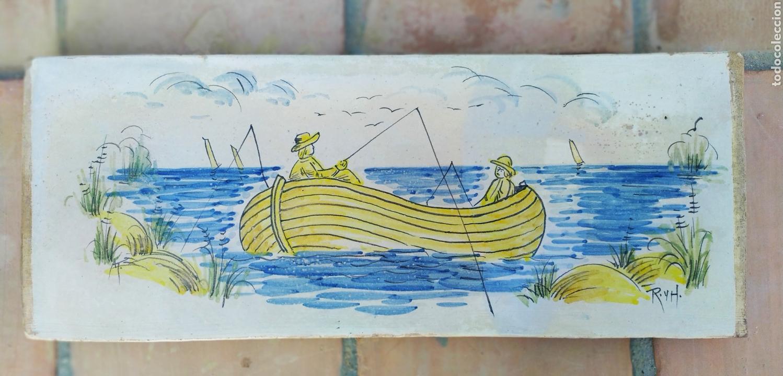 AZULEJO PESCADORES 50 X 19 CM. (Antigüedades - Porcelanas y Cerámicas - Otras)