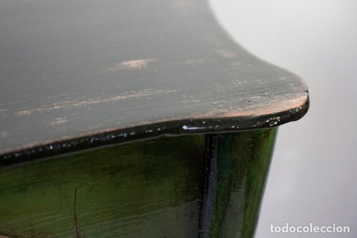 Antigüedades: Consola de roble con pata cabriolé y marco. Recuperados y pintados a mano con motivos florales - Foto 30 - 168973384
