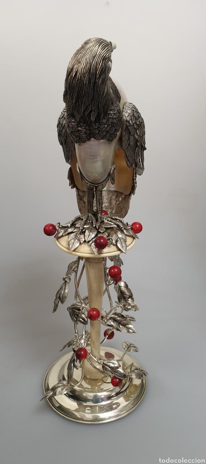 Antigüedades: ANIMAL ÁGUILA EN PLATA CONCHA MARFIL Y CORAL CON CONTRASTE - Foto 3 - 168973497