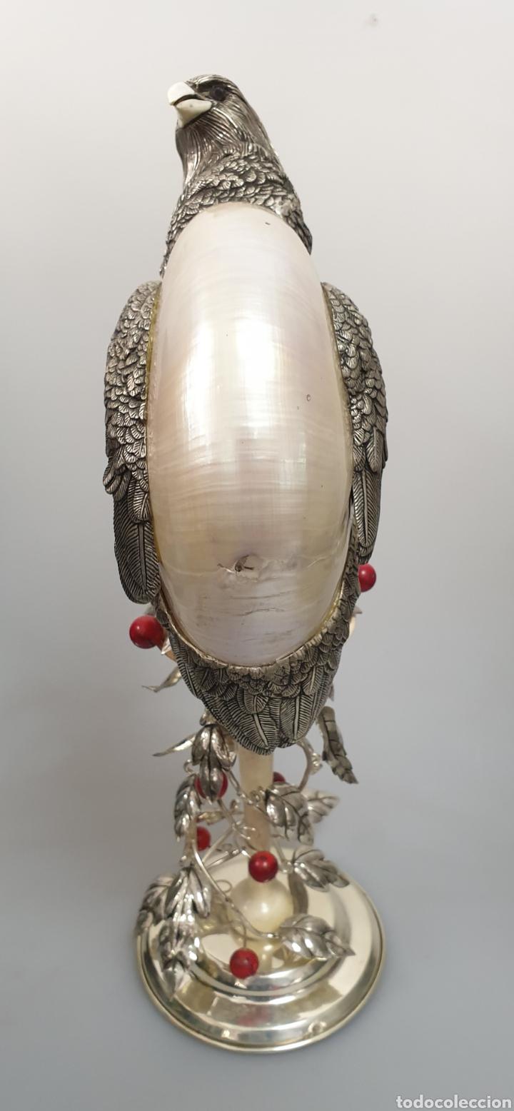 Antigüedades: ANIMAL ÁGUILA EN PLATA CONCHA MARFIL Y CORAL CON CONTRASTE - Foto 11 - 168973497