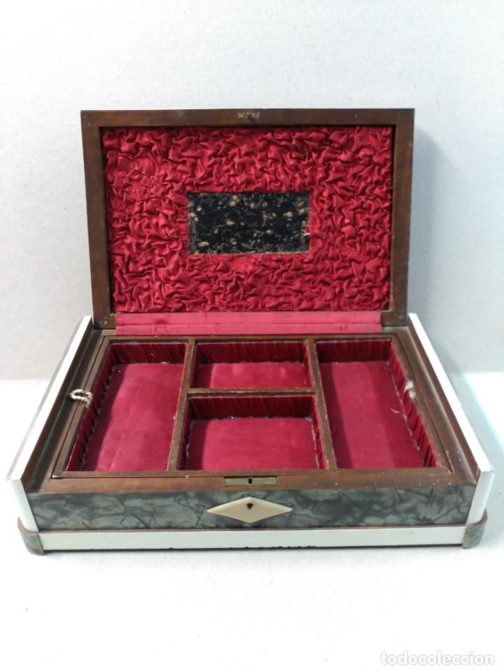 Antigüedades: COSTURERO DE MADERA Y PLATA, SIGLO XIX - XX - Foto 14 - 169005364