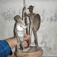 Antigüedades: FIGURA DE HIERRO O FORJA DE DON QUIJOTE Y SANCHO PANZA. Lote 169015064